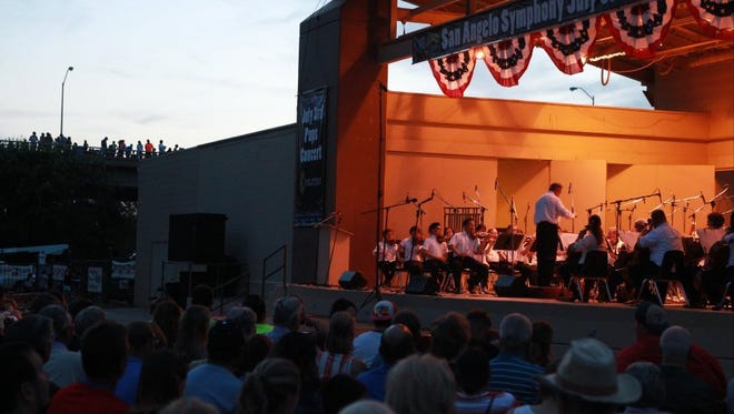 The crowd enjoys San Angelo's traditional July 3rd Pops Concert at the Bill Aylor Jr. Memorial RiverStage.