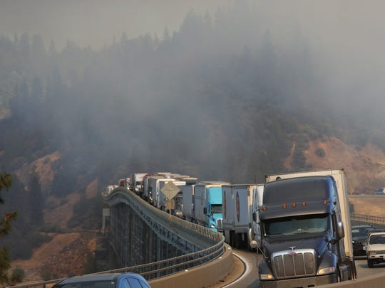 The Pit River bridge is seen in this Oct. 31, 2017 photo in which fires on Interstate 5 caused traffic to back up.