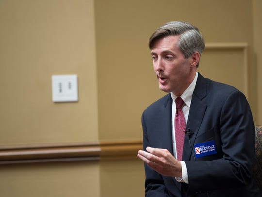 Chess Bedsole, Republican Attorney General Candidate, speaks during a forum for Alabama Attorney General candidate held by the Federalist Society at Faulkner University in Montgomery, Ala., on Wednesday, May 2, 2018.