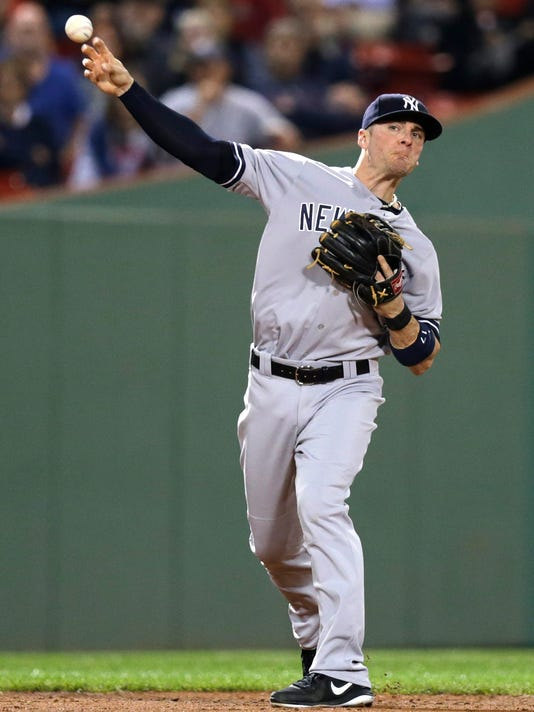 New York Yankees shortstop Brendan Ryan, who started in place of Derek Jeter, throws after fielding a grounder by Boston Red Sox's Mookie Betts during the third inning of a baseball game at Fenway Park in Boston, Friday, Sept. 26, 2014. Betts was out at first. (AP Photo/Charles Krupa)