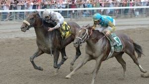 Big Trouble (outside) edged Mr. Z (#5) to win Saratoga's Sanford for 2-year-olds. Both colts are among the favorites in the Kentucky Derby 141 future book opened this week by the betting website allaboutracing.ag