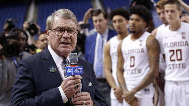 John Swofford, commissioner of the Atlantic Coast Conference, announces the cancellation of NCAA college basketball games March 12 at the ACC tournament in Greensboro, North Carolina.