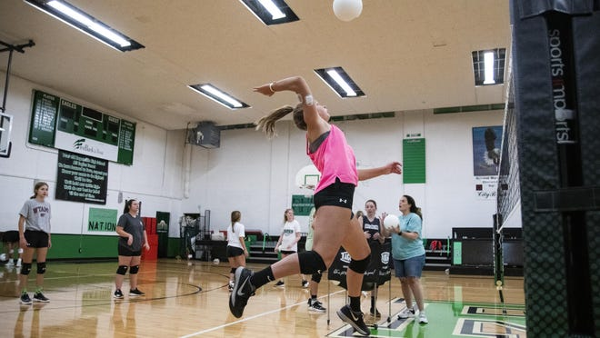 Ropes High School volleyball team practices in the Eagles gym during the first day of fall practices on Monday in Ropesville. The 2020 season will be the inaugural season for the Lady Eagles' volleyball team.
