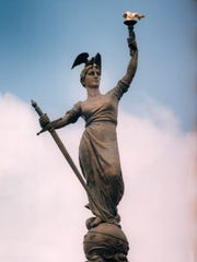 """""""Victory"""" is the crowning figure on the Soldiers and Sailors Monument."""