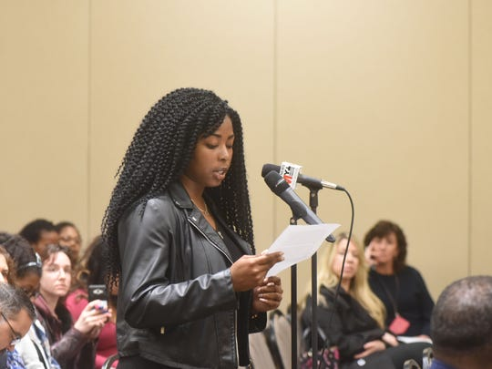 Mfon Essiet takes the microphone as William Paterson University is holding a town hall-style forum on diversity in the wake of this week's controversy over a sorority sister's use of a racial slur in a Snapchat video that went viral.