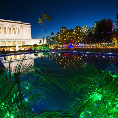 Lights illuminate the Mesa Arizona Temple Gardens on
