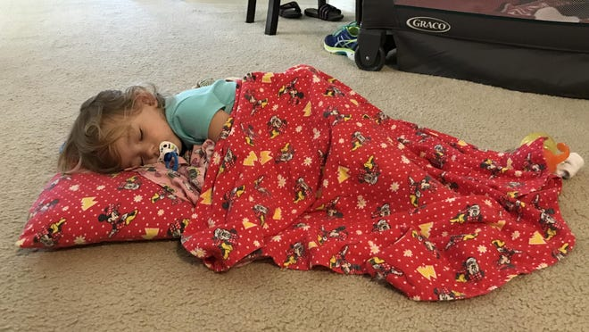 Isabella refused to go into her bed or Pack 'N Play when she wasn't feeling well last weekend. She wanted to sleep on the floor, so we let her.