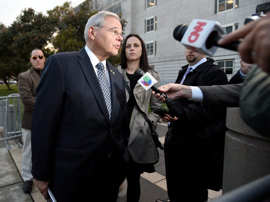 Sen. Bob Menendez leaves Martin Luther King Jr. Federal Courthouse on Monday after closing arguments in his corruption trial.