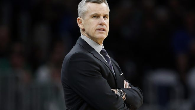 Oklahoma City Thunder coach Billy Donovan watches as his team plays the Boston Celtics on March 8. Next season, he'll be watching games from the Chicago Bulls bench.