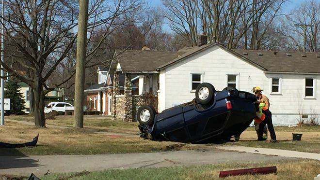 A rollover accident that took place in March near Five Mile and Deering in Livonia. Livonia police are looking to acquire a 3-D scanner that will be able to take measurements at an accident scene quicker than the current system.