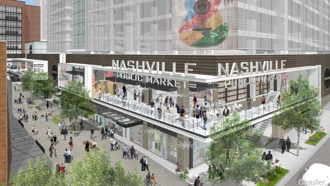 A view of the terrace of the Nashville Public Market planned as part of the Fifth + Broadway project. The Public Market will offer a blend of Southern classics and creative dining experiences.