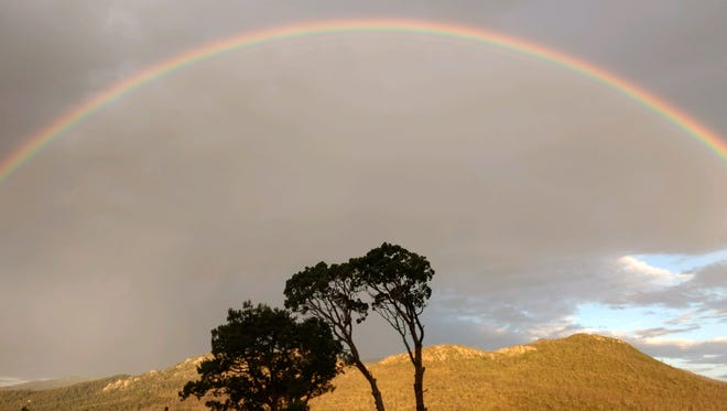 Looking like a scene out of the African Serengeti, a rainbow over a ridge in Alto was captured by Ruidoso water production manager Randy Koehn.