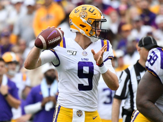 Oct 19, 2019; Starkville, MS, USA; Louisiana State Tigers  quarterback Joe Burrow (9) passes against the Mississippi State Bulldogs during the second quarter at Davis Wade Stadium. Mandatory Credit: Matt Bush-USA TODAY Sports ORG XMIT: USATSI-404262 ORIG FILE ID:  20191019_lbm_mb6_356.JPG