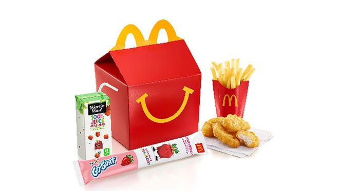 At the end of last year, McDonald's replaced the Happy Meal apple juice box with an organic, less sugary one.