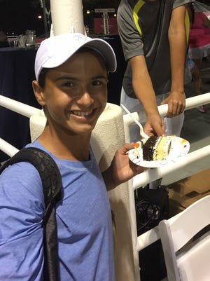 Vero Beach High School freshman Trey Olmstead in one of four Vero Beach area players who will be competing in the qualifying tournament at the Mardy Fish Children's Foundation Tennis Championships $15,000 U.S. Tennis Association Pro Circuit event at Grand Harbor Golf & Beach Club.
