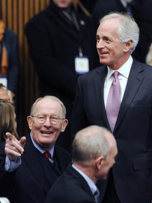 U.S. Sens. Lamar Alexander, left, and Bob Corker, both R-Tenn., voted in favor of moving forward on a bill that would re-enact much of the controversial Patriot Act. But both favored renewing the law entirely, as opposed to a House bill that strips the oft-criticized bulk-data collection authority from the National Security Agency.