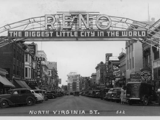 """The Reno Arch after """"The Biggest Little City in the World"""" slogan was replaced with a new version in the 1930s."""