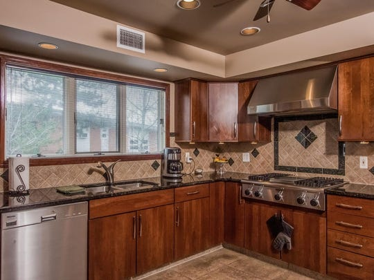 This Monmouth Beach mansion has a gourmet kitchen.