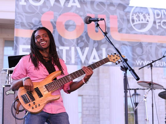 Jesse Thompson of Kool's Bazaar performs at the 2014 Iowa Soul Festival on Sept. 20, 2014, in Iowa City.