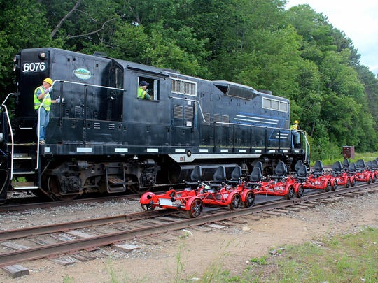 With Rail Explorers, you can rent railbikes and travel along old railroad lines to see fall foliage.