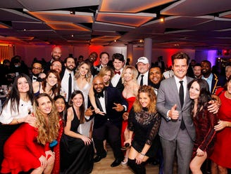 U.S. Rep. Matt Gaetz, R-Fla., foreground right, poses with other attendees at the New York Young Republican Club's 108th Annual Gala in Jersey City, N.J., on Thursday.