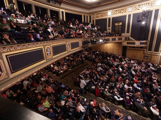 A large crowd fills the seats for the showing of 'Do You Think a Job is the Answer?' at the Detroit Film Theatre during the inaugural Freep Film Festival in March.