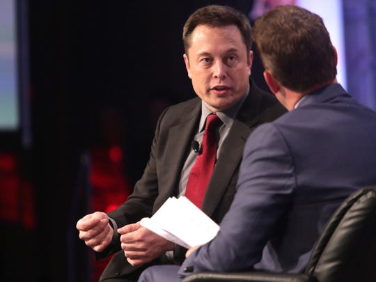 Elon Musk, CEO,Tesla Motors speaks during the Automotive News World Congress event at the Renaissance Center in Detroit on Tuesday, January 13, 2015.