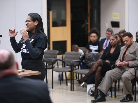 Bloomfield Hills High School student Spencer Neighbors, 16, speaks about the treatment of Bloomfield Hills Middle School student Phoenix Williams.