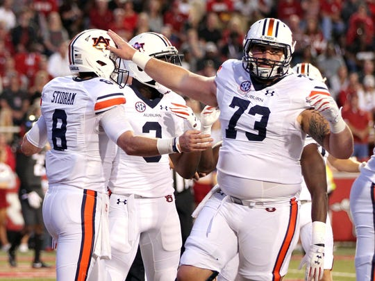Austin Golson (73) was instrumental in Auburn averaging 451.6 yards of total offense this season.
