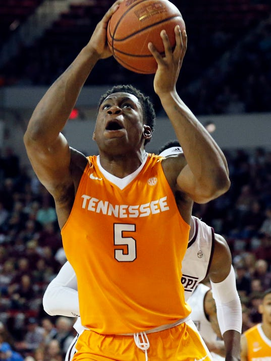 Tennessee forward Admiral Schofield takes an uncontested shot during the first half an NCAA college basketball game against Mississippi State in Starkville, Miss., Tuesday, Feb. 27, 2018. (AP Photo/Rogelio V. Solis)