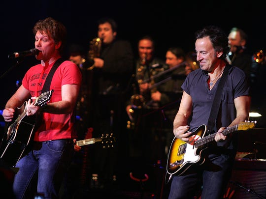 Jon Bon Jovi and Bruce Springsteen perform together at the Hope Concert VI at the Count Basie Thearte in Red Bank in 2008.