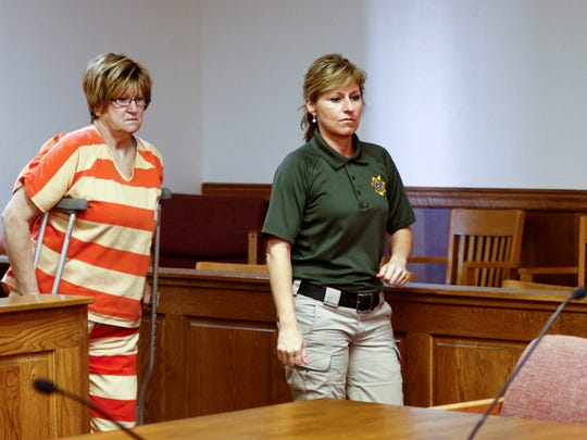 Donna Jo Spare enters the court room for a sentencing hearing in Creston Friday, March 17, 2017. Spare pled guilty to vehicular homicide-OWI in connection with the death of Deanna Hoffman.