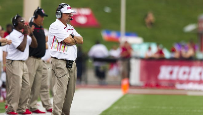 Indiana Hoosiers head coach Kevin Wilson studies the action on the field during second-half action of a NCAA football game, Saturday, September 5, 2015, in Bloomington. Indiana won the game 48-47.