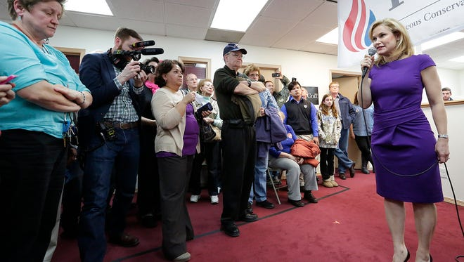 Heidi Cruz, wife of presidential candidate Ted Cruz, spoke during a campaign stop in Fond du Lac Wednesday evening.