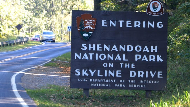 Entrance to the Shenandoah National Park on Skyline Drive.