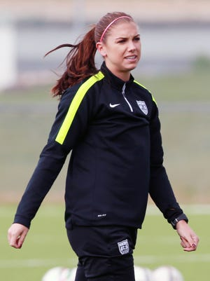 United States forward Alex Morgan  during training in preparation for the 2015 women's soccer World Cup.