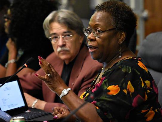 School board President Margie Orr speaks during the