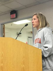 Amanda Campbell urges the Staunton City Council to consider spending more than $40 million on the new Robert E. Lee High School at the council meeting on Thursday, Feb. 23, 2017 in Staunton, Va.