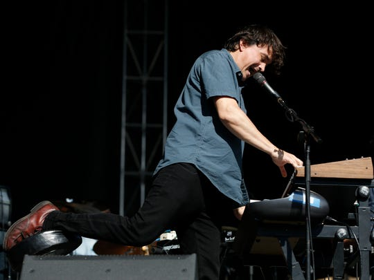 Spencer Krug with the band Wolf Parade performs Friday, July 8, 2016, during the first day of the 80/35 music festival in downtown Des Moines.