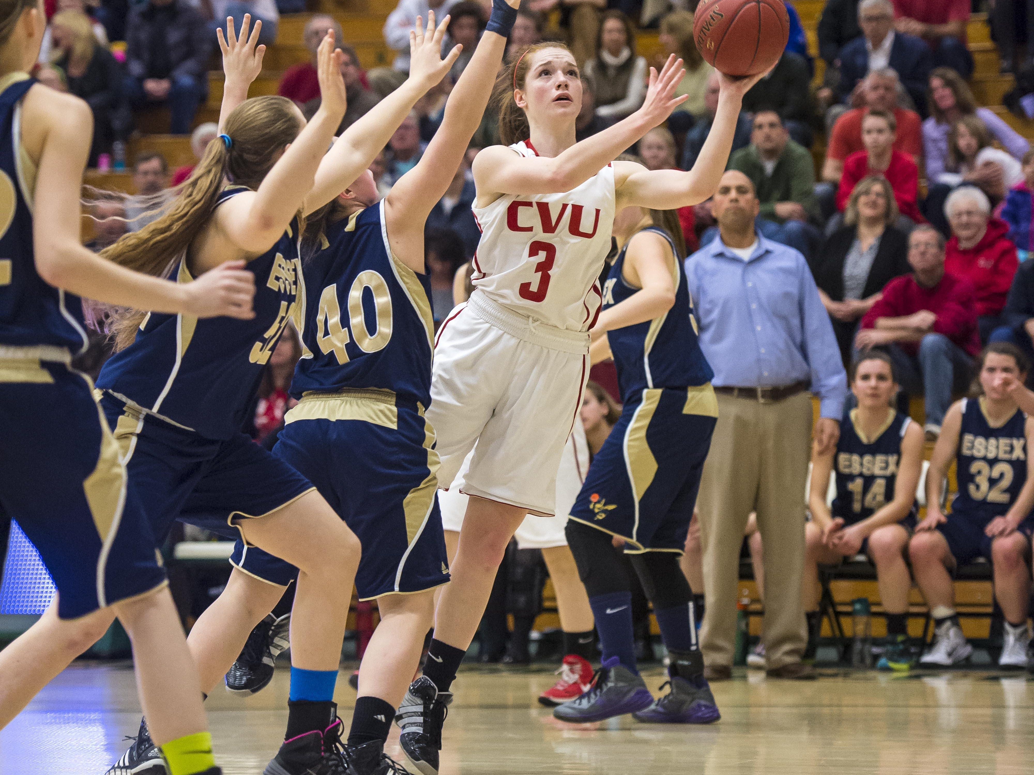 Champlain Valley's Sadie Otley, seen in action in last year's Division I title game, helped the Redhawks to a season-opening win Thursday night.