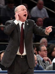 Mississippi State Bulldogs head coach Ben Howland reacts during the NIT semifinal against Penn State.