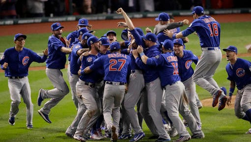 Chicago Cubs celebrate after Game 7 of the Major League Baseball World Series against the Cleveland Indians Thursday, Nov. 3, 2016, in Cleveland. The Cubs won 8-7 in 10 innings to win the series 4-3.