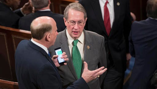Rep. Louie Gohmert, R-Texas, left, talks with Rep. Bob Goodlatte, R-Va., in the House Chamber on Capitol Hill in Washington, Tuesday, Jan. 3, 2017, as the 115th Congress gets underway. House Republicans voted Monday, Jan. 2, 2017, night to gut the independent Office of Government Ethics, a move sponsored by Rep. Goodlatte, the House Judiciary chairman.