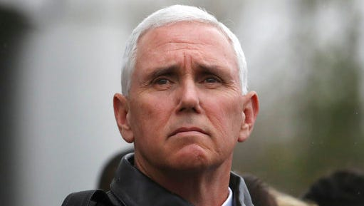 U.S. Vice President Mike Pence visits at the border village of Panmunjom which has separated the two Koreas since the Korean War, South Korea, Monday, April 17, 2017. Pence visited a military base near the Demilitarized Zone, a day after the North conducted a failed missile launch. Pence arrived at Camp Bonifas on Monday morning for a briefing with military leaders and to meet with American troops stationed there. He is in South Korea as part of a 10-day tour of Asia.