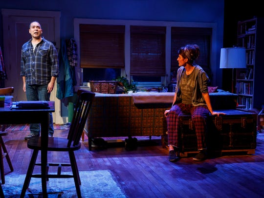 "Teddy Cañez and Nia Vardalos in ""Tiny Beautiful Things."""