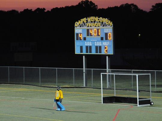 Cape Henlopen goalkeeper Riley Shields stands alone, waiting for the ball to come her way.