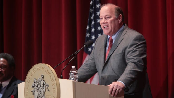Detroit Mayor Mike Duggan gives his second State of the City address at the Redford Theatre in Detroit on Tuesday.