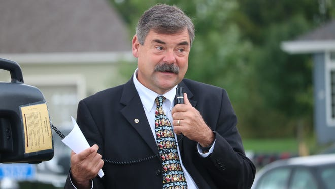Sheboygan Area School District Superintendent Joe Sheehan speaks at the groundbreaking on Wednesday, Sept. 14, for the 2016 residential house that North and South students will be building.