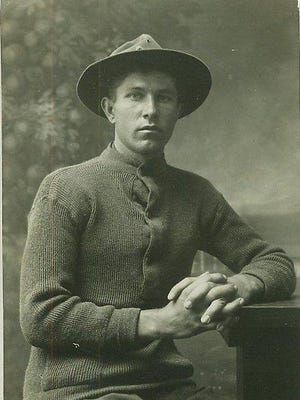 Albert Abraham Lamb, 1917, is photographed a year before he wrote this letter home to his mother and his death in France during WWI.