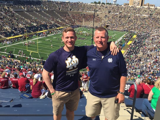 Inside Notre Dame Stadium with my son, Patrick. Was